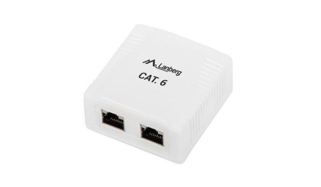 Адаптер LANBERG OS6-0002-W FTP DATA BOX 2PORT SHIELDED CAT.6E